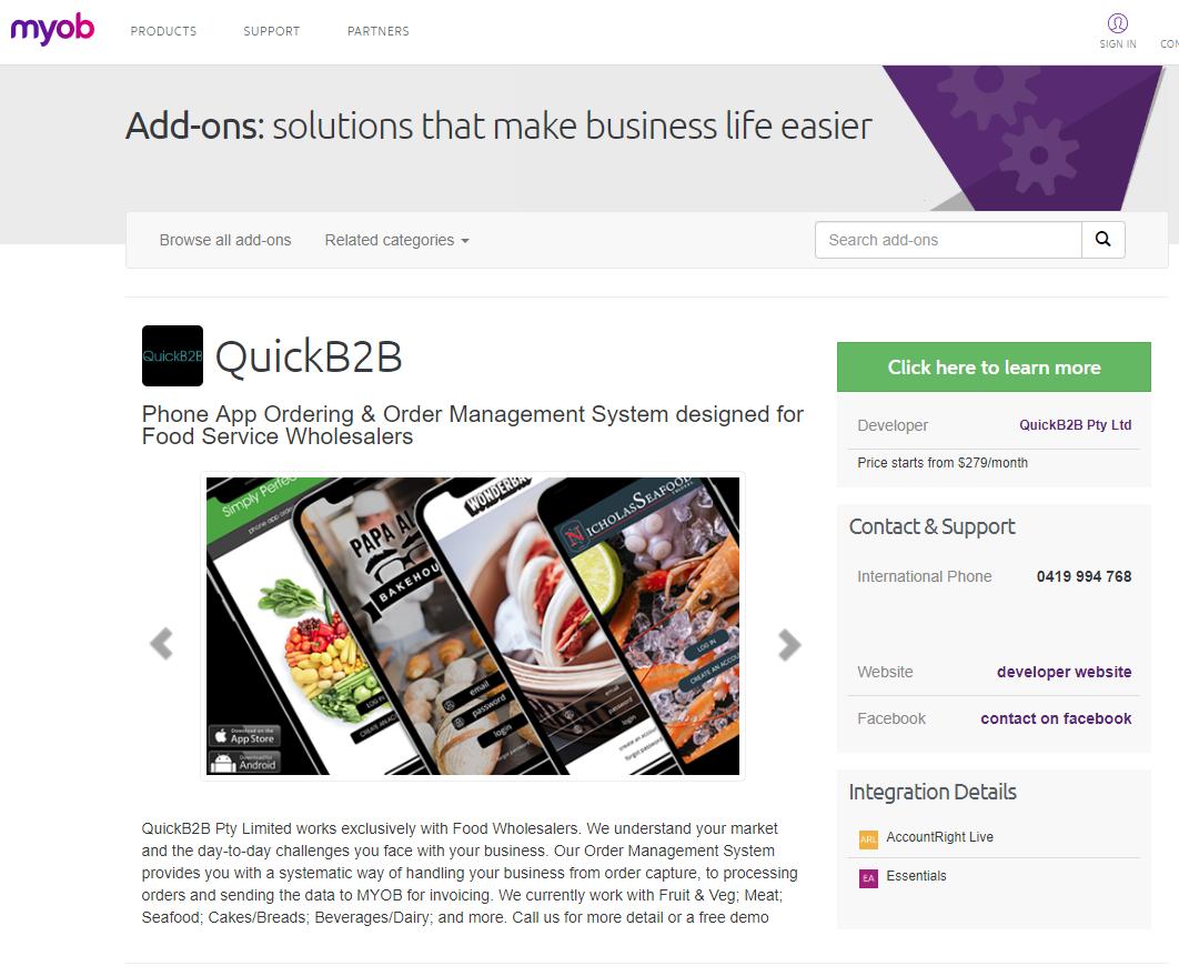 QuickB2B MYOB add-on